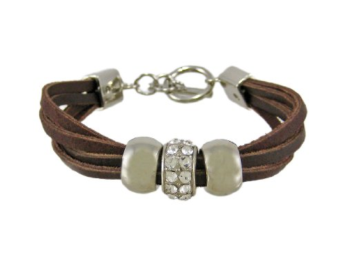Brown Leather 3 Bead Multi Strand Bracelet