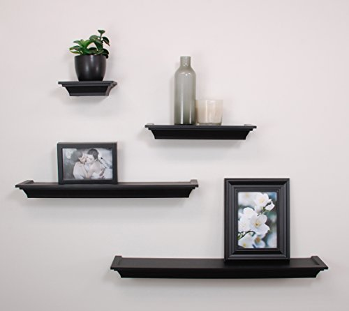 nexxt Classic Multi Length Shelves, Black, Set of 4
