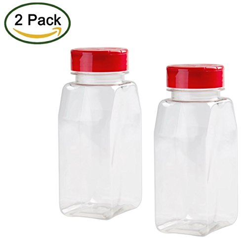 2 Pack - 16 OZ Clear Plastic Spice Bottles Jars Containers - Flap Cap, Pour and Sifter Shaker, Refillable. Perfect For Storing and Dispensing Herbs and Spices - BPA Free (Shaker Container compare prices)