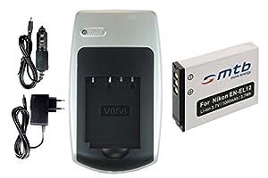 Chargeur + Batterie EN-EL12 pour Nikon Coolpix S9100, S9200, S9300, S9400, S9500... - voir liste de compatibilit�
