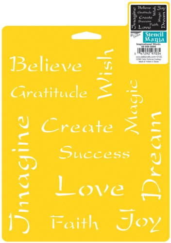 Plaid Delta Stencil Mania Inspirational Words, Size 7-Inch by 10-Inch