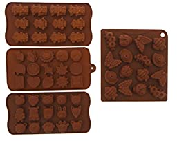 Candy Molds - Fondant Molds - Chocolate Silicone Molds - Robots Cartoon Characters, Animal Heads, and Insects, 4 Piece - 8x4x.5\