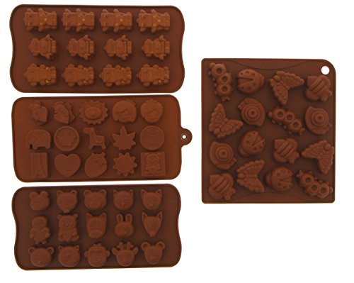 Le Juvo Chocolate Silicone Molds - Cartoon Characters, Animal Heads, And Insects, 4 Piece