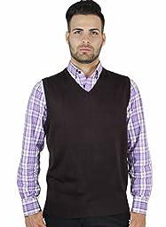 Blue Ocean Solid V-Neck Sweater Vest-Brown-Large