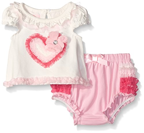 Nannette Little Girls Applique Top with Ruffled Diaper Cover Set,  Off White, 6-9 Months