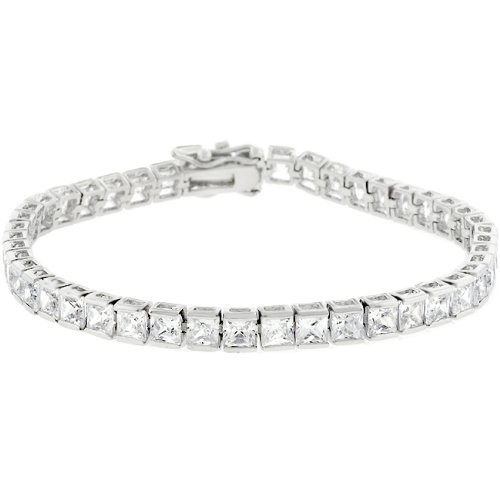 7.25 Inch Tennis Bracelet With Princess Cut Cubic Zirconia In Channel Setting And Box Clasp Polished Into A Lustrous Silvertone Finish