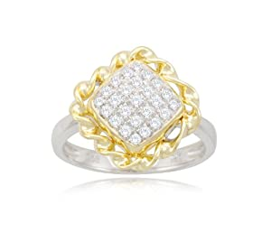 Sterling Silver Rope Diamond Ring (1/5cttw, I-J Color, I2-3 Clarity), Size 6