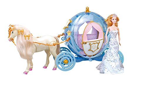 Elektrische-Princess-Fairytale-Kutsche-in-Krbisform-mit-Beleuchtung-UND-Elektrischem-Pferd-voll-beweglich-inkl-Sound