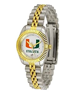 Miami Hurricanes UM NCAA Ladies 23Kt Gold Watch by SunTime