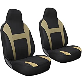 Cloth Mesh Seat Covers Full 2 Piece Set Tan and Black for Car Truck SUV Van