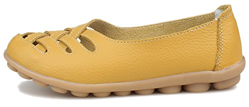 Kunsto Womens Leather Loafer Shoes Slip on US Size 8.5 Yellow