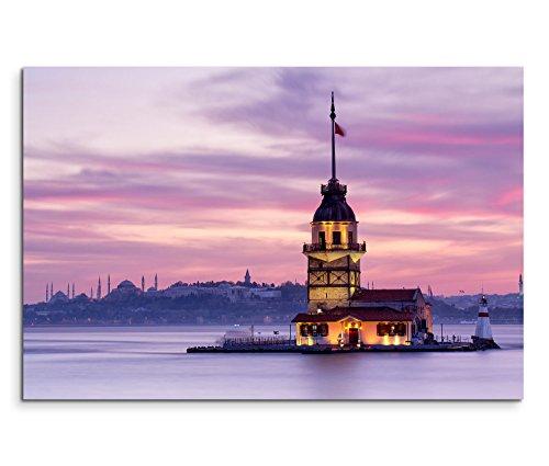 120x80cm leinwandbild auf keilrahmen istanbul bosporus jungfrauenturm wandbild auf leinwand als. Black Bedroom Furniture Sets. Home Design Ideas