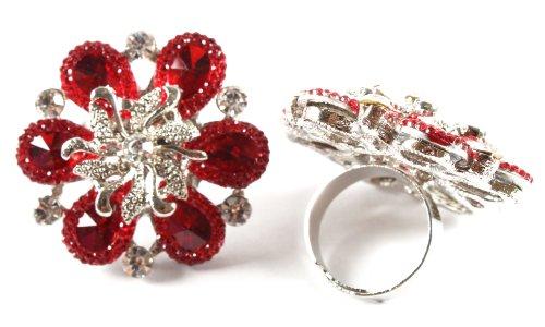 Ladies Red Spiral Centered Flower Metal Adjustable Finger Ring