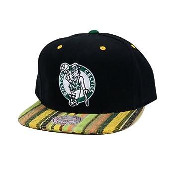 Boston Celtics Mitchell & Ness Native Stripe Canvas 2 Tone Snapback Hat by Mitchell & Ness
