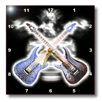 Dpp_109215_3 Florene Music - 2 Wild Electric Guitars - Wall Clocks - 15X15 Wall Clock
