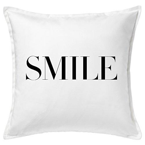 Smile Big Black Font Word Home Good Quality White Cushion Cover Cuscini