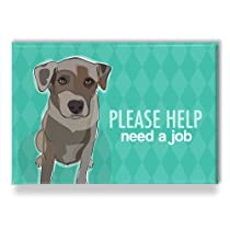 Catahoula Leopard Dog Fridge Magnet - Please Help Need a Job