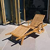Hardwood Amalfi Garden/Patio Sun lounger Fully adjustable with Drinks Tray