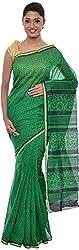 The Print Village Women's Cotton Silk Saree (Green)