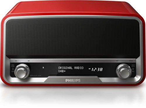 Philips ORT7500/10 Original-Radio mit Bluetooth & DAB+ (USB-Aufladen, Digital-Tuning), rot