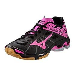 Mizuno Wave Lightning Z Women\'s Volleyball Shoes - Black & Pink (Women\'s 6)