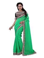 Surat Tex Green Chiffon Casual Wear Embroidered Sarees With Blouse Piece-F80SE1004SU