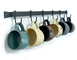 Wallmounted Wrought Iron Mug Rack 24 Quot With 6 Cup Hooks