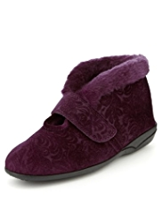 M&S Collection Faux Fur Embossed Bootie Slippers