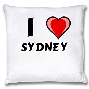 White Cushion Cover with I Love Sydney (first name/surname/nickname
