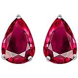 Star K Pear Shape Created Ruby Earrings Studs Sterling Silver