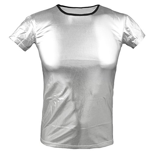 YiZYiF Sexy Men's Leather Look PVC Underwear Clubwear T-shirt Xmas Dance Top Silver Small (Mens Wet Look Tank Top compare prices)