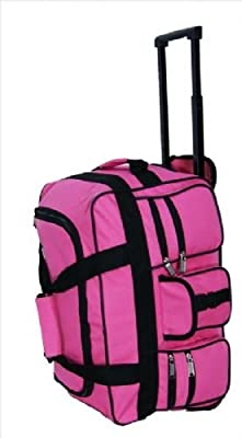 """Womens and Mens Girls (PINK Twin Handle Wheeled Holdall 18"""" 47cm X 27cm X 25cm STYLISH ONBOARD HAND LUGGAGE CABIN HOLDALL WHEELED TRAVEL BAG SUITCASE , suitable for Ryanair, Easyjet, BMI, BA, Virgin (47 x 27 x 25 cm) Due to its lightweight construction an"""