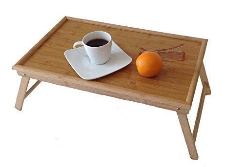 Original GMMH Laptop Tablett Bambus Unterlage Klapp Tisch Betttablett Frühstückstablett Serviertablett klappbar Bett Tisch Tablett