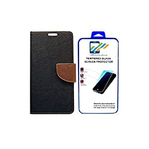 Mobi Fashion Flip Cover For Sony xperia Z3 With Tempered Glass - Black Brown