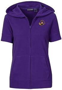 NCAA East Carolina Pirates Ladies Short Sleeve Full Zip Polar Fleece Hoodie by Oxford