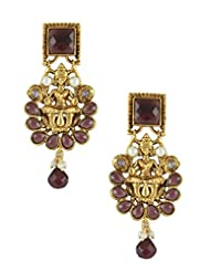 The Art Jewellery - Temple Earrings With Square Purple Stone & Purple Drops