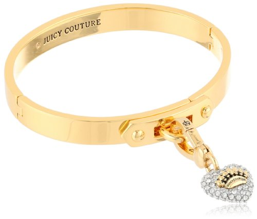 Juicy Couture Gold Pave Heart Starter Charm Bangle Bracelet, 2.37""