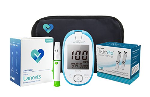 HealthPro Diabetic Blood Glucose Testing Kit, Meter, 50 Test Strips, 50 Lancets, Adjustable Lancing Device, Owners Log Book & Manual