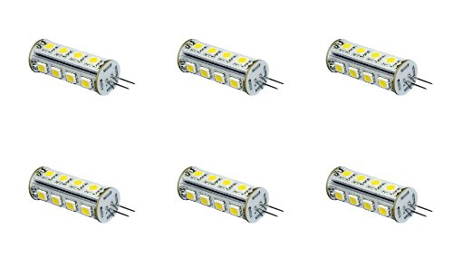 12Vmonster ® * 6 Pack * Pure White Tower 3 Watt 17X 5050 12V - 24V Jc G4 Base Halogen Lamp 12 Volt 24 Volt 8V-30V Light Bulbs Led Replacements 10X Longer Lifetime