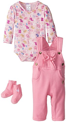 Carhartt Baby-Girls Infant Brushed Fleece 3 Piece Bib Overall Set, Rosebloom, 9 Months front-1017150