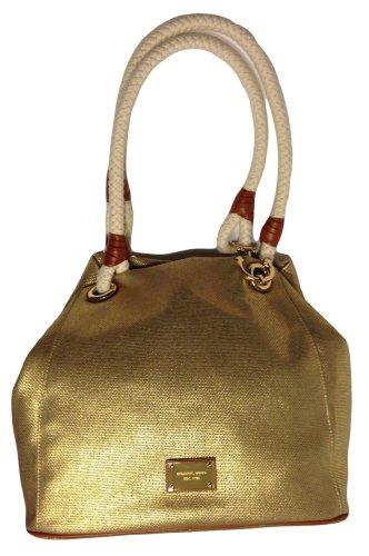 Michael Kors Marina Grab Bag Gold Canvas Tote