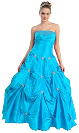 Ball Gown Strapless Wedding Prom Dress #547 (6, Turquoise)