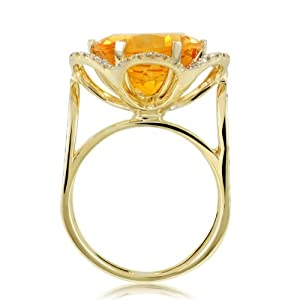 9.02 Ct Citrine Gemstone & Round Cut Diamonds Flower Ring 18k Solid Yellow Gold