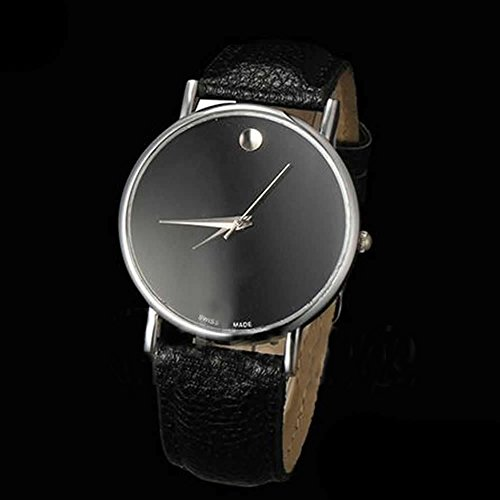 Estone® Hot Vogue Men Casual Geneva Stunning Faux Leather Band Women Classic Wrist Watch (Silver Case+Black Band)
