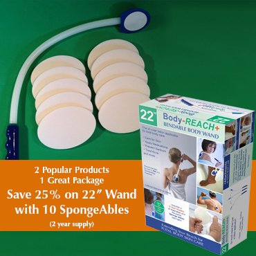 """22"""" Super-Flex Body-Reach+ Bendable """"Unbreakable"""" Lotion Applicator Includes: (10) SpongeAbles or 2 year supply!"""