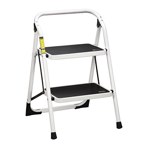 Ollieroo-Ladder-EN131-Steel-Folding-2-Step-Stool-with-Hand-Grip-Anti-slip-Steps-Non-marring-Feet-330-pound-Capacity-White-Finish