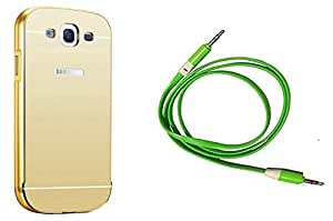 Novo Style Back Cover Case with Bumper Frame Case for Samsung Galaxy Grand Duos i9082 / GT-I9060 Golden + 3 Feet or 1 Meter Flat Aux cable 3.5 jack for all mobile and music