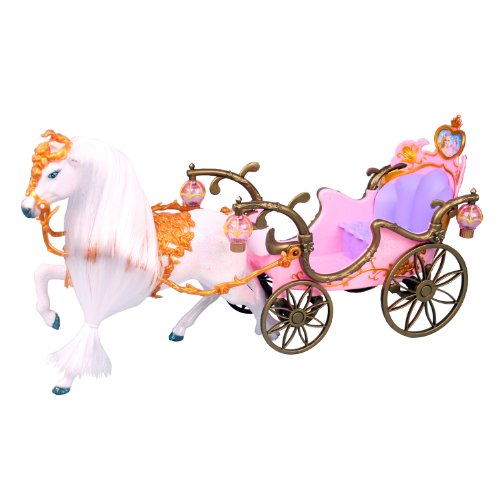 Prinzessin-Prinzessinnen-Kutsche-mit-Beleuchtung-und-Puppenpferd