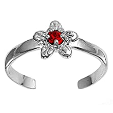 buy Flower Plumeria Simulated Ruby .925 Sterling Silver Toe Ring