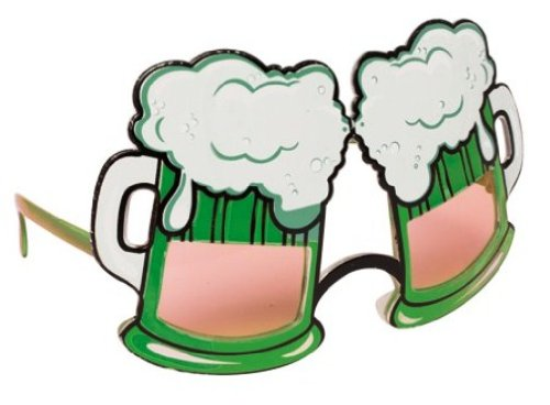 "St. Patrick's Day Plastic Beer ""Goggles"" Accessory Eye Glasses, Green - 1"